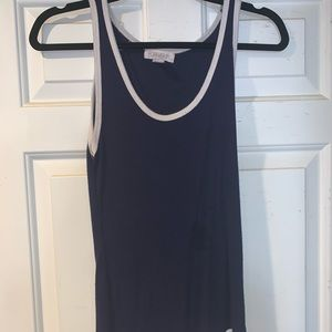 blue with white tank top